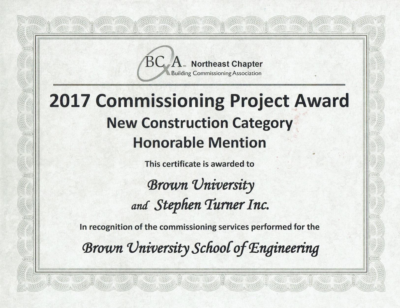 2018 Bcxa Award Certificate